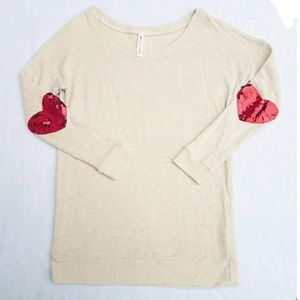 Sweaters - Valentines Day Cream Red Knit Sweater Heart Medium
